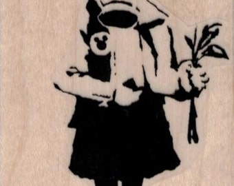 Banksy Gas Mask Flower Girl  rubber stamps  cling stamp unmounted or wood mounted 19434 craft scrapbook supplies