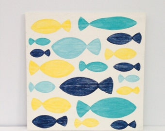 Nautical Nursery Art - Bathroom Decor - Distressed Wood Art - Blue and Yellow Decor - Fish Wall Art - School of Fish Painting - Beach House