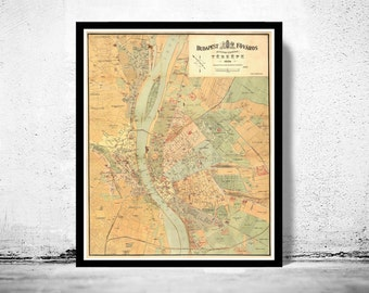 Old Map of Budapest Hungary 1884