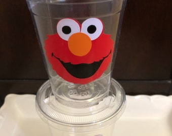 Elmo Birthday Party Disposable Plastic Cups with lids 16oz 1st Birthday Baby Shower Party decor
