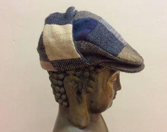 Vintage patchwork Donegal Irish tweed cap