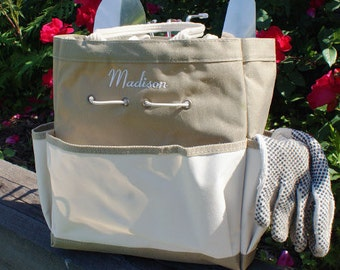 Embroidered Garden Tool Tote Bag, Personalized, For Her, Gardener, Grandma  Gift,