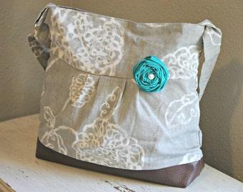 Messenger Bag, Medium Purse, Diaper Bag, Grey Flowers, Faux Leather Bag, Tote, Pleather Bag, Vegan Leather Purse, Pleated Purse, Flowers