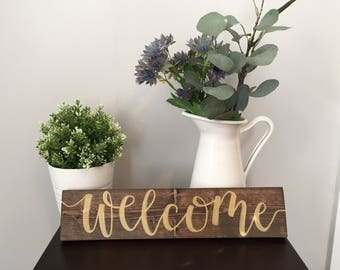 Welcome Wood Sign, hand-lettered