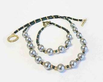Blue Grey Glass Pearl Necklace and Matching Bracelet With Ocean Green and Yellow Accent Beads