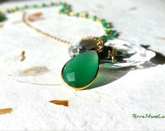 Onyx Necklace, Green Onyx Pear Bezel Gold Necklace, Gemstone Jewelry