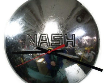 1936 Nash Ambassador and 400 Hubcap Clock - Classic Car Part Hub Cap Wall Decor