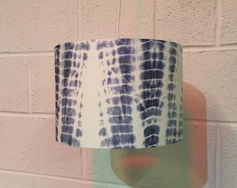 Beautifully handmade drum lampshade in fabulous indigo dyed shibori cotton fabric
