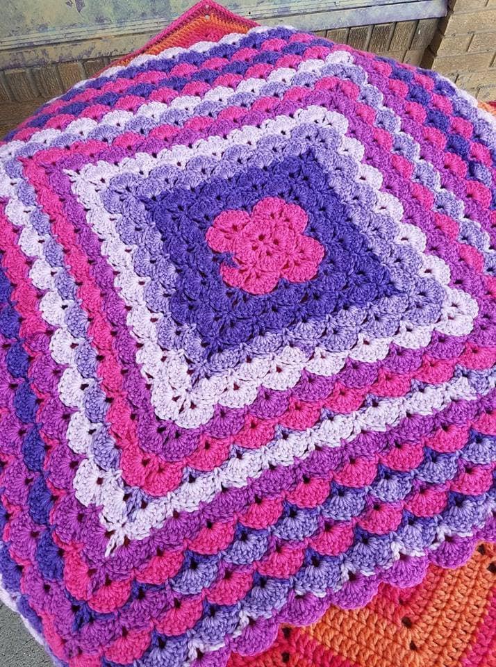 Violet Vision Beautiful Shells Hand Crochet Baby Blanket