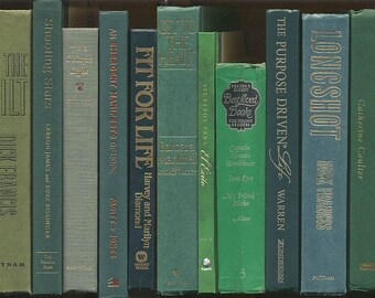 Books By The Foot, Lot of 10-12 hardcover books in shades of dark green, olive green, kelly green Instant Library, Staging, office book lot