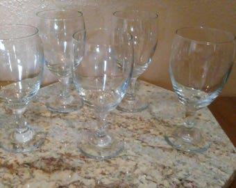 Vintage stemmed water goblets set of 5 great for summer fancy water cups champagne or wine goblet