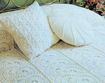 Vintage Crochet Pattern  for Afghan and Pillows   Throw Blanket Bedspread Cover Cushion Round Square  Textured  PDF
