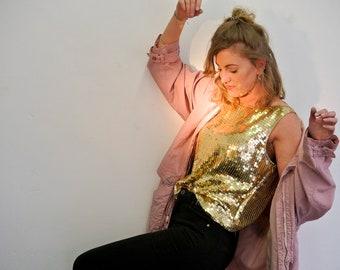 valerie stevens glitter sequin top gold