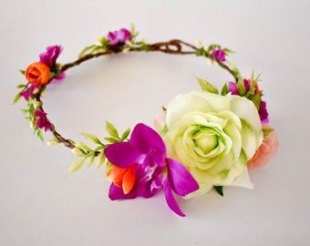 Orchid flower crown Green floral crown Flower crown in purple, pale green and orange Vibrant floral crown Wedding headpiece Bridesmaids