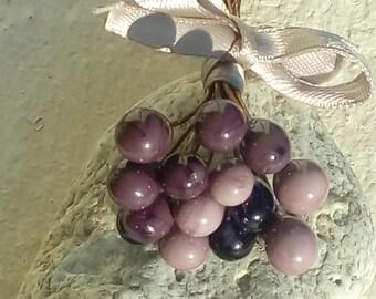 Set of 15 drops Wisteria - plum - purple