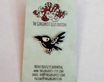 Flying Crow enamel pin