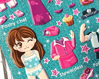 Kawaii dress up sticker sheet - kawaii puffy sticker sheet