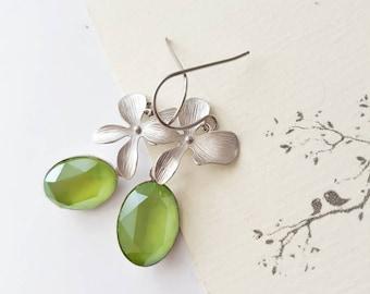 Lime Green Floral Earrings, Green Crystal Earrings, Silver Orchid, Elegant, Bridal, Spring Wedding Jewelry, Swarovski Dangle Earrings,Bold
