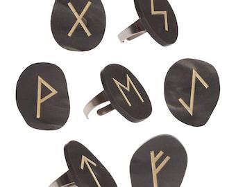 Futhark Rune Stone ring - laser cut acrylic