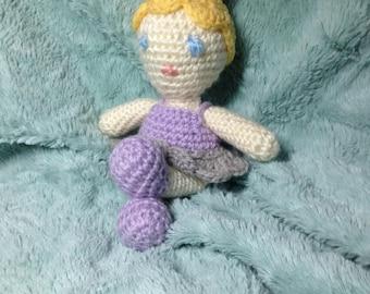 Doll Crochet Handmade Blonde Curly Hair Blue Eyes Cream Body