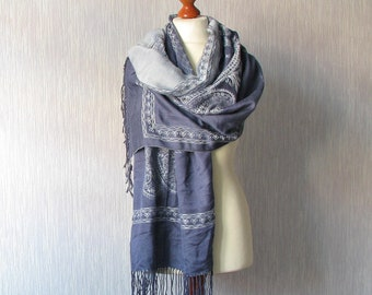 "Long scarf Retro Oversized Shawl Laine Viscose Dark blue Boho style Vintage Women Fashion 199 x 70cm / 78"" x 27,5"""