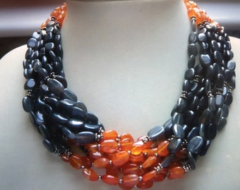 Vintage Silver, Carnelian and Grey Agate Necklace
