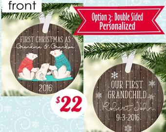 Personalized Ornament Grandma and Grandpa Ornament - Nana Papa Any Wording for Grandparents First Christmas - Free Gift Box