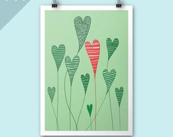 SALE / LAST 2 PRINTS!!! Growing Hearts / A4 print / Art print / Illustration / Contemporary art / Poster print