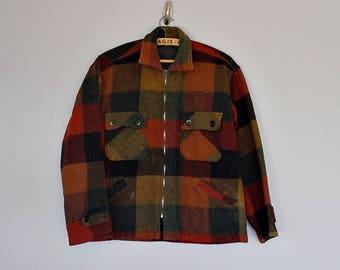 Vintage 70's 80's plaid wool lumberjack jacket // Size S / M