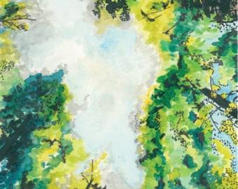 Watercolor Art Print- Humboldt Redwoods- 8x10
