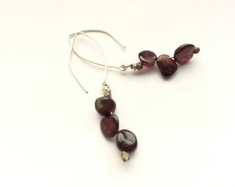 Triple Garnet Nugget Boho Dangle Earrings * each one-of-a-kind * silver or gold * red semi-precious stones