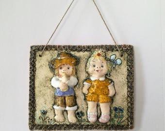 Ceramic wall hanging, Ceramic wall art, Kids wall picture, Handmade wall art, Handmade wall hangings, Kids room art, Pottery wall hangings