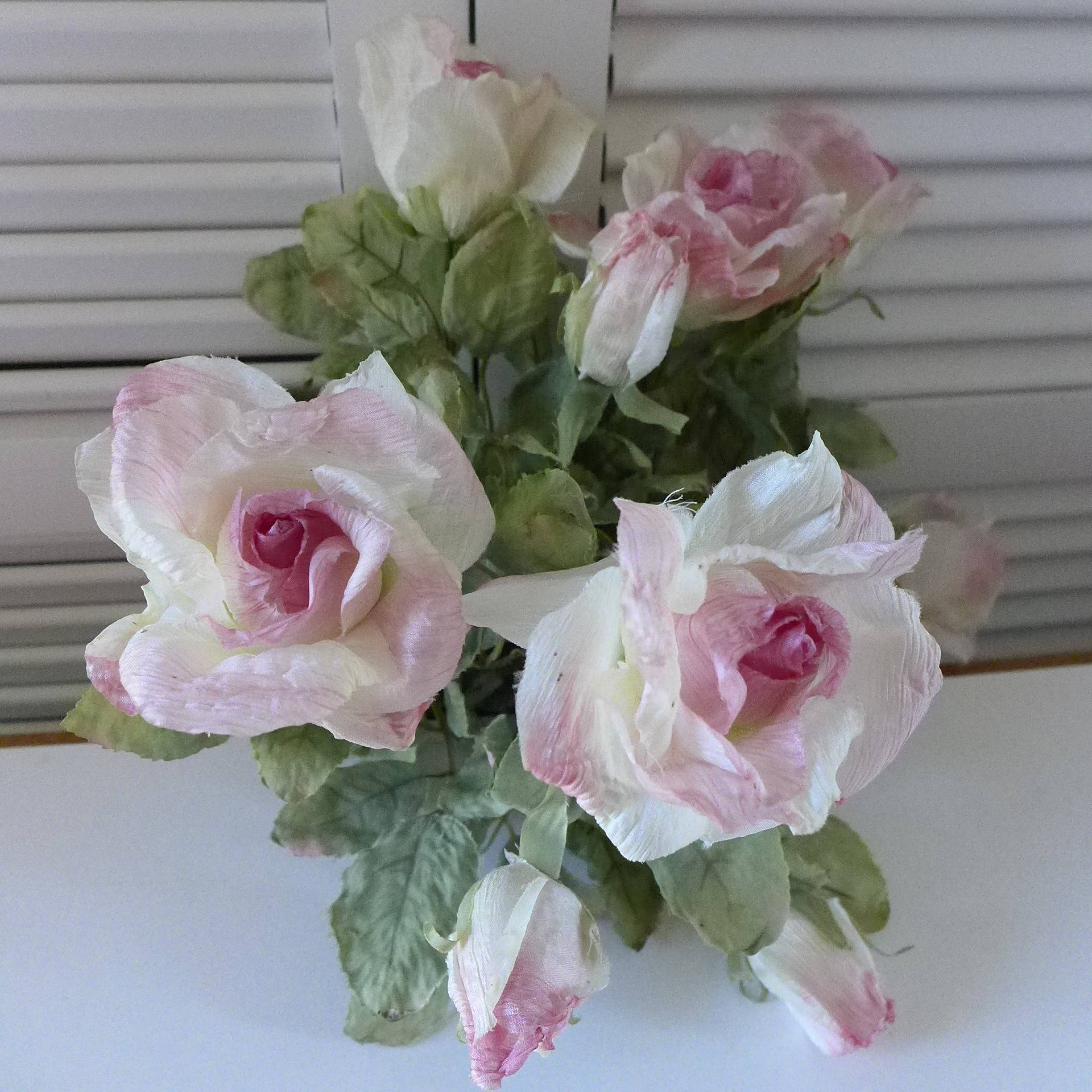 Silk Flowers 80s Roses White Pink Edges Artificial Rose Bouquet Fake