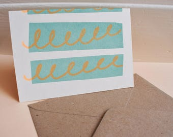 Screen Printed Swirly Patterned Greetings Card with Kraft Envelope