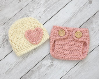 Newborn girl hat and diaper cover, newborn photo prop, baby girl clothes, newborn valentines prop, coming home outfit, baby girl hat