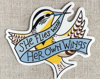 She Flies With Her Own Wings Vinyl Sticker / Oregon State Motto / Western Meadowlark Bird / Laptop Sticker / Feminist Sticker / Waterproof