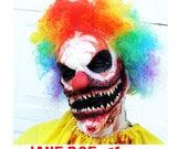 Killer Clown Mask Scary Clown Costume ahs Clown Prosthetic Mask Clown makeup Zombie clown Halloween ClowN Makeup CLOWN COSTUME