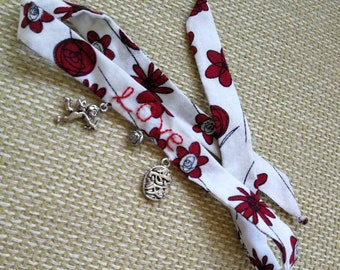Love; fabric tie-up charm bracelet