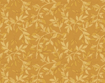 Ginger Rose Fabric - Gold Leaves