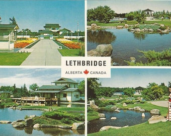 Vintage 1990s Postcard Lethbridge Alberta Canada Japanese Gardens Multiview Scenic Flowers Traveltime Card Photochrome Postally Unused
