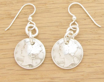 For 90th: 1928 US Mercury Dime Earrings 90th Birthday Gift Coin Jewelry