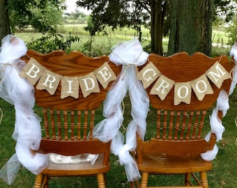 Bride and groom burlap banners, Bride and groom chair banners, Rustic wedding decor, Burlap wedding banner, Country wedding decor