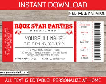 Concert ticket invitation rock star birthday party any age rock star invitation concert ticket invitation rock star birthday party theme red instant download with editable text filmwisefo