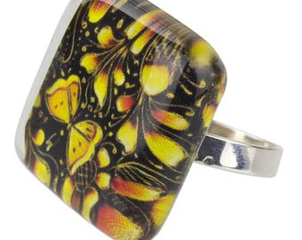 Hand Crafted Art Glass Silver Ring 'Michoacan Wonder'
