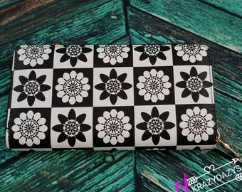 Black and white floral wallet