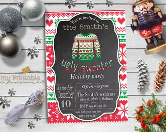 Ugly Christmas Sweater Invitation / Digital Printable Invite / DIY Party