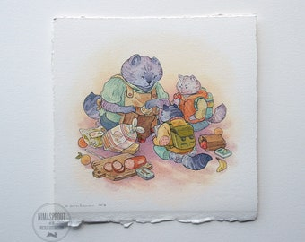 Packing for Lunch - ORIGINAL PAINTING by Nicole Gustafsson