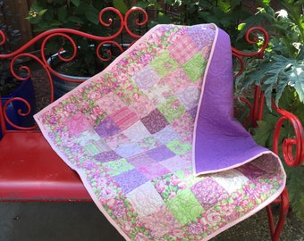 SWEET BABY JANE Handmade Modern Quilt 40x40 - pink purple and green - floral baby girl quilt