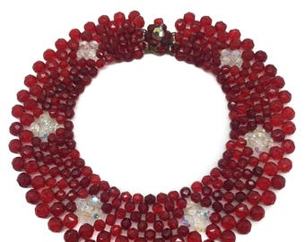 FABULOUS 1950s Red CRYSTAL VINTAGE Collar