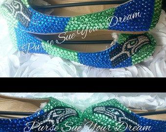 Seattle Seahawks Themed Custom Ballet Flats Shoes - Seahawk Football - Custom Shoes - Swarovski Crystals